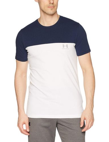 Under Armour White Navy Athlete Men's Short-Sleeve Logo Shirt (1)